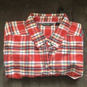 Women's Eddie Bauer LS Shirt Lg Persimmon Plaid